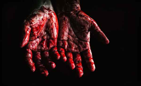 Hands covered with blood