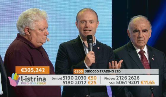 Joseph Muscat, George Vella and Peppi Azzopardi at l-Istrina
